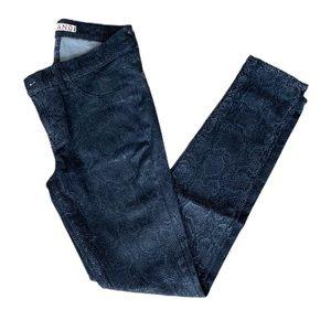 J Brand Wax Coated Snakeskin Skinny Jeans
